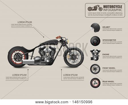 American chopper, Chopper motorcycle, Vintage Motorcycle, Motorcycle infographic. Vector illustration
