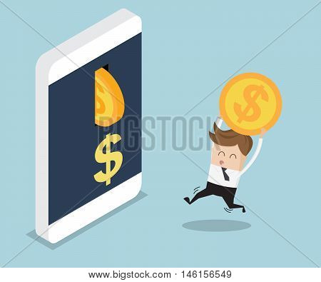 businessman put coin into mobile banking cartoon vector illustration
