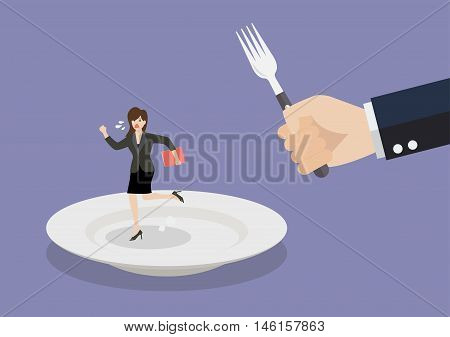 Business woman run away from big hungry man. Business concept