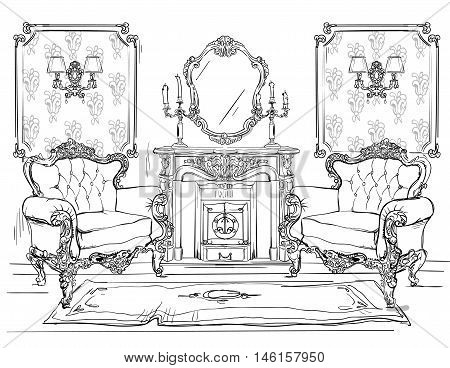 home interior with armchairs and fireplace - vector illustration