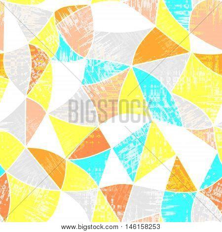 Glass vitrage mosaic kaleidoscopic seamless pattern background bright colors
