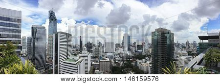 Cityscape of Sathorn Area in Bangkok panorama