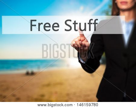 Free Stuff - Businesswoman Hand Pressing Button On Touch Screen Interface.