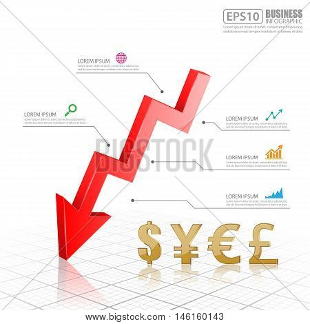 Red Arrow down with currency symbols. dollar, yen, euro, pound sterling, vector