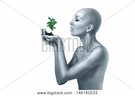 cyber alian woman in the image of land holding plant on white background