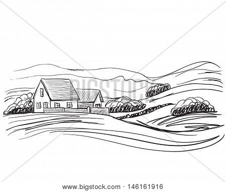 Vector hand drawn village houses sketch and field
