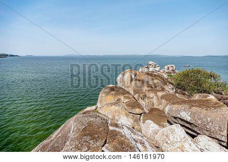 Rocks on the shore of Lake Victoria Tanzania