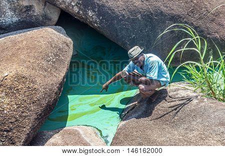 Mwanza,Africa- March 26. 2016: Pollution and contaminated river Nile near Mwanza,Africa