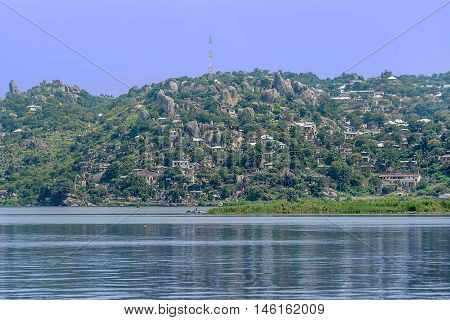 Hills and Rocks with houses in Mwanza on the shore of Lake Victoria Tanzania
