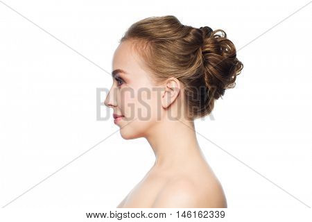 health, people, plastic surgery and beauty concept - beautiful young woman face over white background