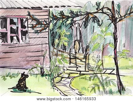 The instant sketch dog and house watercolor