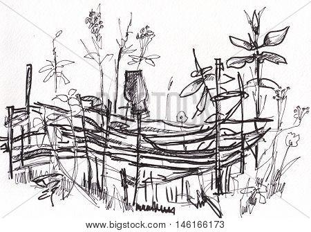instant sketch wattle fence black and white