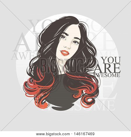 Portrait Of A Beautiful Sexy Girl With C, Professional Hair Coloring Concept. Vector Hand Drawn Illu