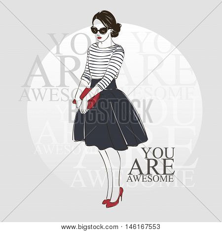 Beautiful Young Women In A Fashion Retro Clothes In Glasses With Bag And Midi Skirt. Vector Hand Dra