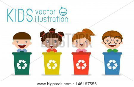 Illustration of Kids Segregating Trash, recycling trash, Save the World , Vector Illustration.