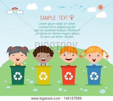 Illustration of Kids Segregating Trash, recycling trash, Save the World , Vector Illustration.