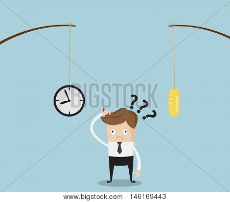 Businessman Confused for Choose Time or Money Business Concept Time is Money Vector Illustration
