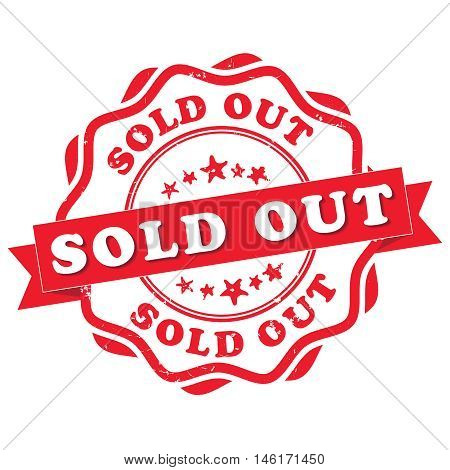 Sold out - grunge red sticker / label. Print colors used