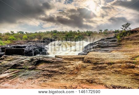 View of Murchison Falls on the Victoria Nile river National Park Uganda