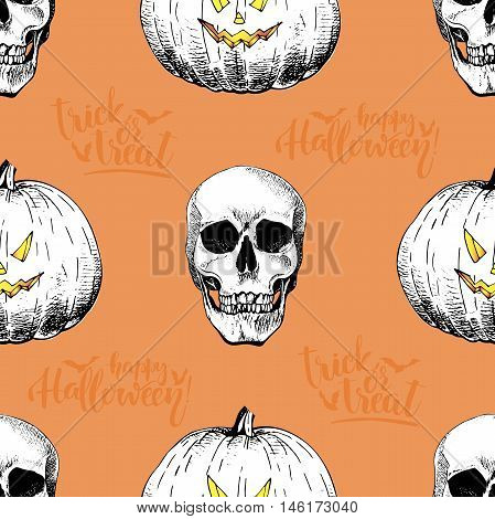 Vector seamless pattern of human skulls and pumkins isolated on orange background. Hand drawn engraved style. Happy Haloween. Trick or treat. Use for wrapping paper design store party textile.
