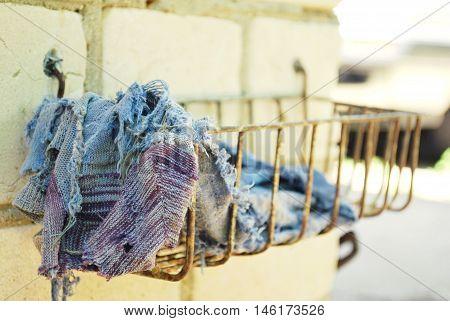 clout, soap dish, blue, purple, brick wall