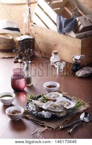 Fresh Oysters on table ,Dining dish on the table