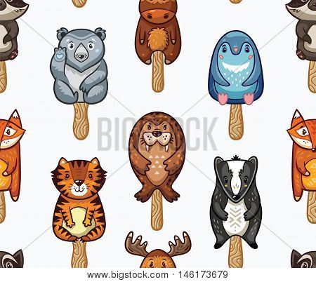 Popsicle Ice Lolly pattern with cartoon animals