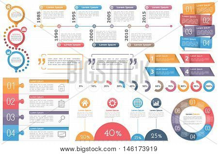 Infographic elements - circle diagram, timeline, progress indicators, diagram with percents, design templates with numbers (steps or options) and text, quote frames or text boxes, vector eps10 illustration
