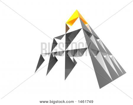 Abstract Pyramid With Yellow Top
