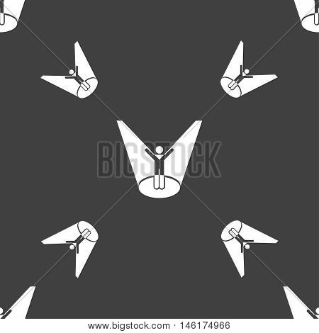 Spotlight Icon Sign. Seamless Pattern On A Gray Background. Vector