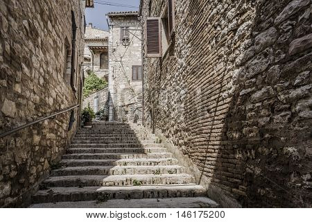 Typical historic staircase in the city of Assisi, Italy