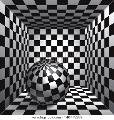 Volume plaid sphere. The inside plaid room. Black and white cell box with a ball inside. 3d chess board, vector design background and object