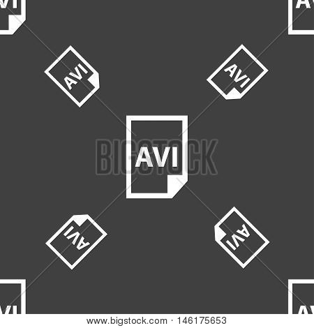 Avi Icon Sign. Seamless Pattern On A Gray Background. Vector