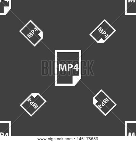 Mp4 Icon Sign. Seamless Pattern On A Gray Background. Vector