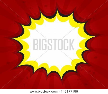 blank boom comic book pop art speech bubble background vector illustration