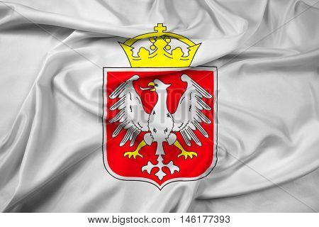 Waving Flag of Gniezno Poland, with beautiful satin background. 3D illustration