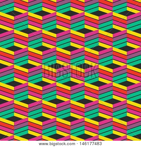 Abstract Trendy Geometric Seamless Pattern Design. Vector Modern Wave Repetitive Print, Best For App