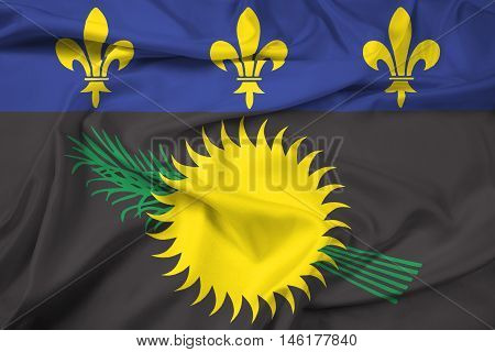 Waving Flag of Guadeloupe (local) France, with beautiful satin background. 3D illustration