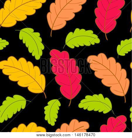 Bright autumn seamless pattern with colorful oak leaves on a black background.Vector illustration.Design for web pages, cloth, textile, wrapping paper, scrapbooking, Wallpapers.