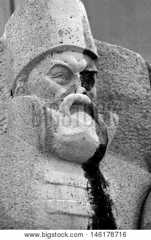 KIEV,UKRAINE - MAY 15, 2016: Ukrainian vandalism.Broken nose on Monument to Reunion of Ukraine and Russia in Kiev, Ukraine (ukrainian nazionalists have tradition to vandalise monuments). Kiev. Ukraine