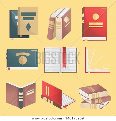 Books icons set. Books stack, opened book, closed book, books shelf, knowledge concept. Flat design. Education and literature symbols. Vector illustration isolated