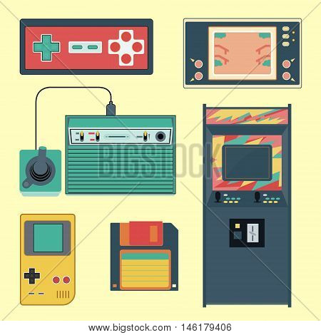 Set Of Geek Gaming Retro Gadgets From The Nineties. Old Game Entertainment Devices Of The 90S. Elect