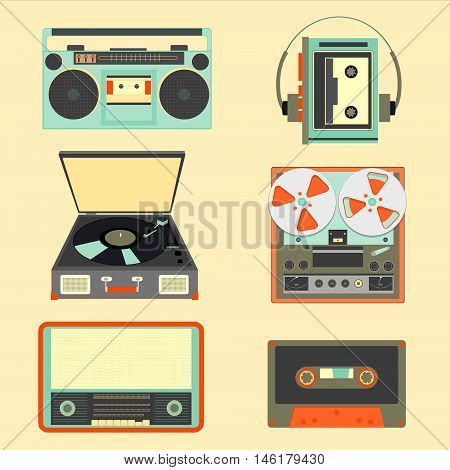 Set of retro music gadgets from 21-st century. Old musical devices vector illustration. Tape stereo system audio cassette reel-to-reel recorder walkman player radio gramophone