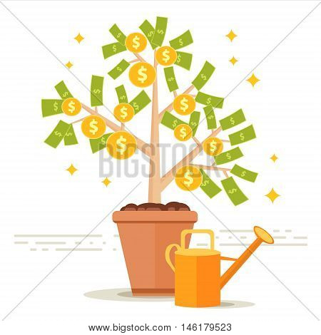 Money tree vector illustration. Dollar leaves and golden coin fruits on bush with watering can. Financial success growth concept. Business investment profit money making metaphor