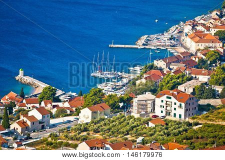Town of Bol coast aerial view Island of Brac Dalmatia Croatia