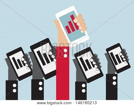 up red graph on mobile in hand with color black down graph in black and white mobile leader online business concept vector illustration
