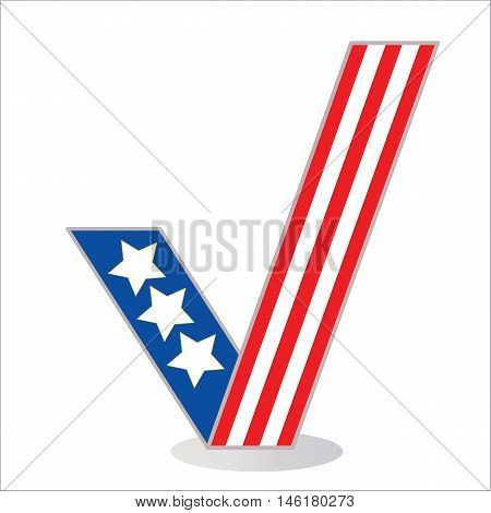 Symbol tick in the colors of the American flag