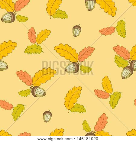 autumn seamless pattern with small colorful oak leaves and acorns on a light yellow background.Vector illustration.Design for web pages, cloth, textile, wrapping paper, scrapbooking, Wallpapers.