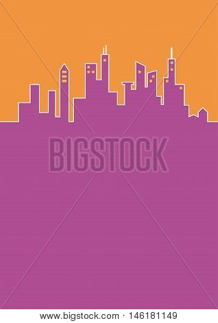 City flat background, cityline in purple and orange