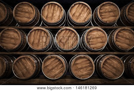 Wooden winemaking barrel in a stock 3d illustration